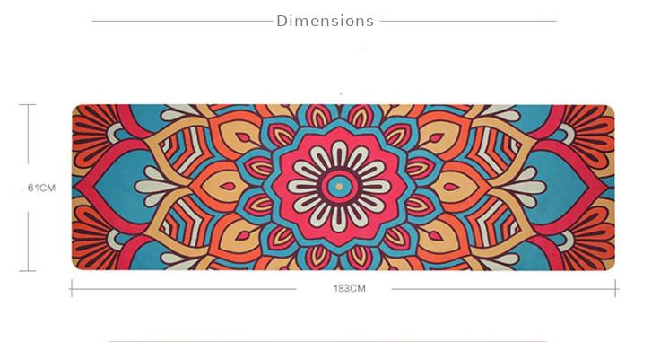 Tapis de Yoga «Bīja» 7 Chakra, Mandala et Nature-Mandala rouge dimensions