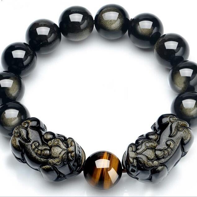 Naturel-Obsidienne-Pixiu-Perles-Bracelet-Feng-Shui-Richesse-Pixiu-Bracelet-Chanceux-Animal-Perl-Bracelet-Bonne-Chance