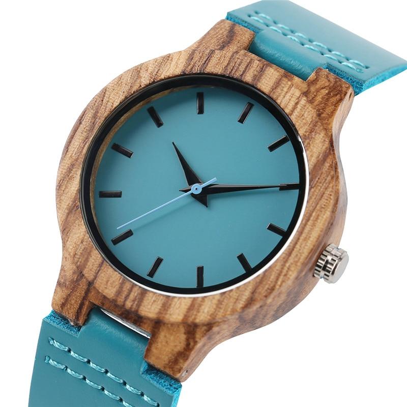 Dames-l-gantes-Creative-Bleu-Main-made-Quartz-Bois-Montre-V-ritable-Bracelet-En-Cuir-Simple