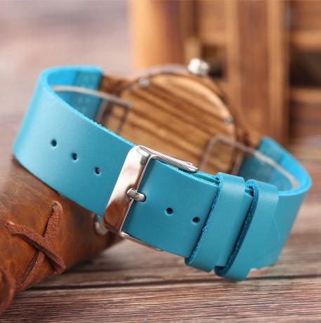 Montre Casual «Mátsya» en Bois – Bracelet cuir- Détails 1