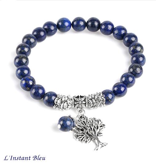 Bracelet Bohème «Akāra » Arbre de vie, en Lapis Lazuli-1