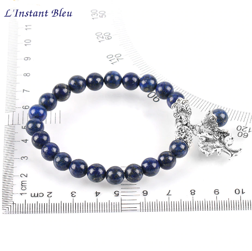 Bracelet Bohème «Akāra » Arbre de vie, en Lapis Lazuli-4