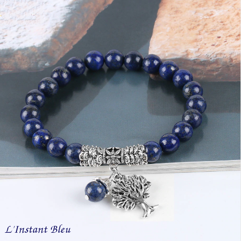 Bracelet Bohème «Akāra » Arbre de vie, en Lapis Lazuli-5