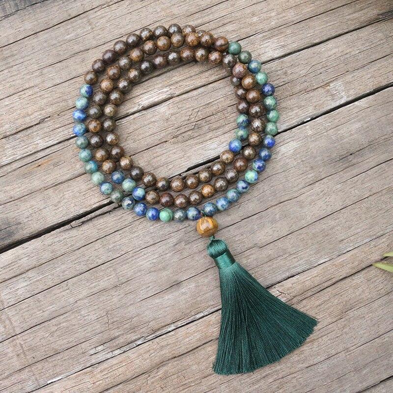 Perles-en-pierre-naturelle-de-8mm-Lapis-fous-Bronzite-yeux-de-tigres-ensembles-JapaMala-bijoux-spirituels