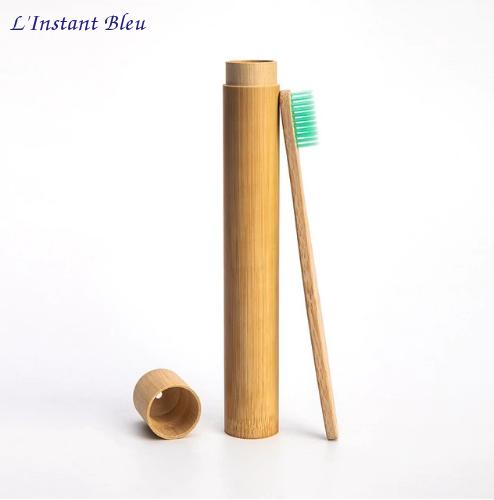 Brosse à dents de voyage + Boîte cylindre en Bambou naturel-5.1