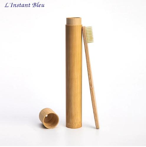 Brosse à dents de voyage + Boîte cylindre en Bambou naturel-8