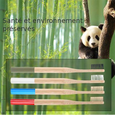 Brosse à dents «Anūpa» manche coloré, en Bambou naturel-12