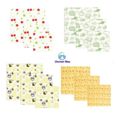 Lot de 3 Films alimentaires «Bee'sWrap» réutilisables à la cire d'abeille – 8 modèles