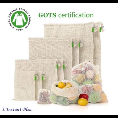 Sac à légumes écologique «Bhakṣa»en mailles de Coton Bio