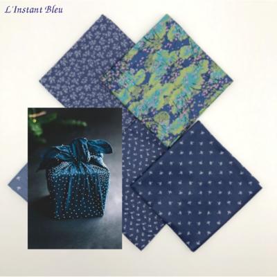 Furoshiki: Tissus d'emballage cadeau «Kusumākaraḥ» le Printemps Bleu - 48 cm