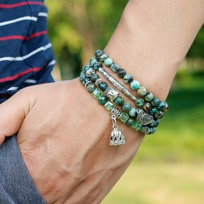 Bracelet bohème «Lakṣmaṇā » Esprit libre – en Turquoise Africaine