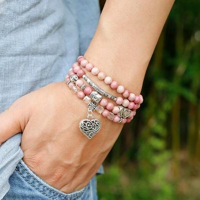 Bracelet bohème « Sukhḥino » Esprit libre – en Rhodochrosite