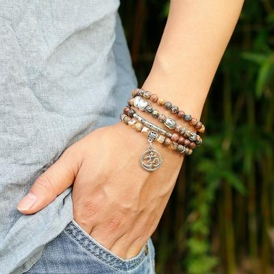 Bracelet bohème «Bhāvantu» Esprit libre – en Jaspe léopard
