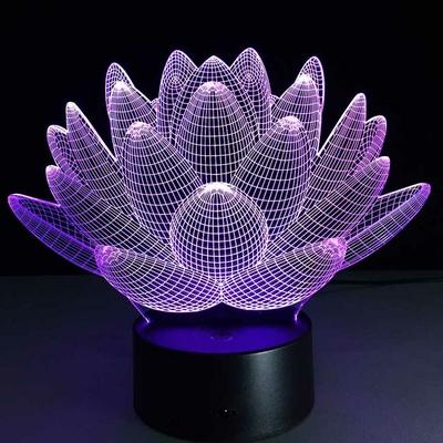 Lampe Led Hologramme «Fleur de Lotus »