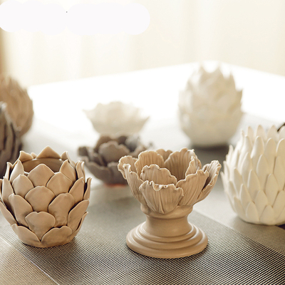 Photophore «Fleur de Lotus» en porcelaine