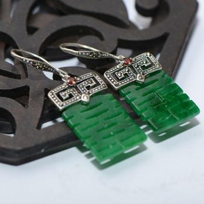 Boucles d'Oreilles Ethniques «Yāṃ» en Jade et Argent