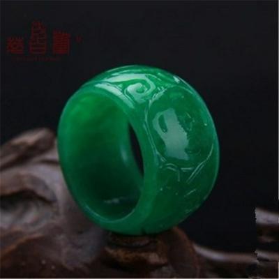 Anneau sculpté «Himālaya» Esprit Bohème  en Jade vert