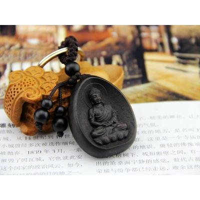 Porte-Clefs en bois sculpté «Black Boddhisattva»