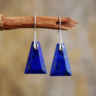 Boucles d'Oreilles Ethniques «Navaraṅgā» blue spirit en Lapis lazuli