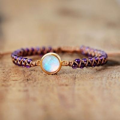 Bracelet Ethnique « Āpalā » Esprit Bohème en Opale précieuse blanche et Améthystes