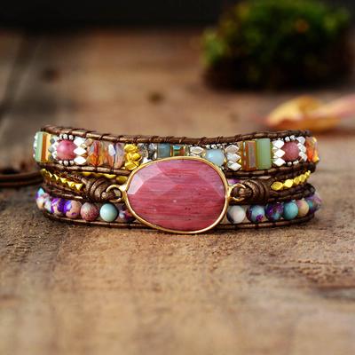 Bracelet bohème « Mānasa » Esprit libre – en Cuir et Jaspe rose
