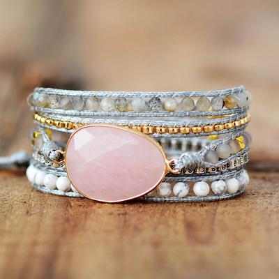 Bracelet bohème «Śheṣha» Esprit libre – en Quartz rose, Labradorite et Howlite