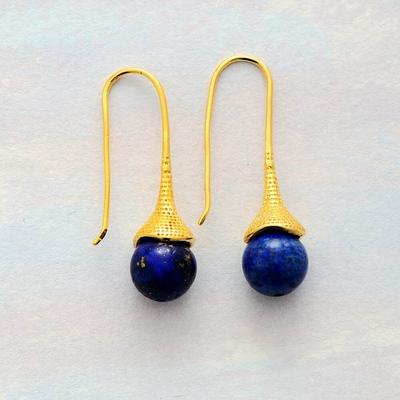 Boucles d'Oreilles Ethniques «Āśrama» blue spirit en Lapis lazuli