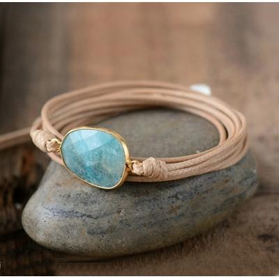 Bracelet bohème « Śauca » Esprit pur – en Cuir ciré et Amazonite