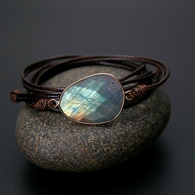 Bracelet bohème «Bḥāgavad» Esprit protecteur – en Cuir ciré et Labradorite