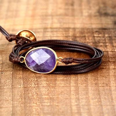 Bracelet bohème « Sāttva » Esprit de sagesse – en Cuir ciré et Améthyste