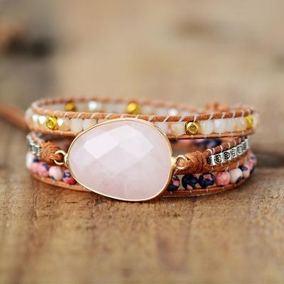 Bracelet bohème «Nalinī» Esprit libre – en Quartz rose, Rhodonite et Agate