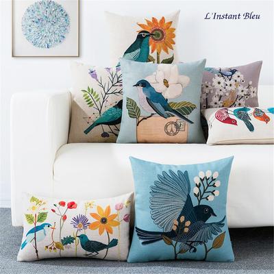 Housse de Coussin série Love Birds «Kalahaṃsa» en Lin et Coton