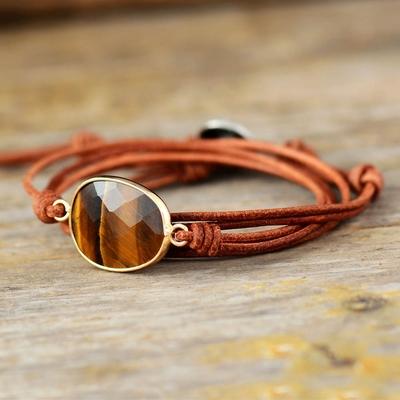 Bracelet bohème « Śiva » Elévation et Protection – en Cuir et Oeil de Tigre