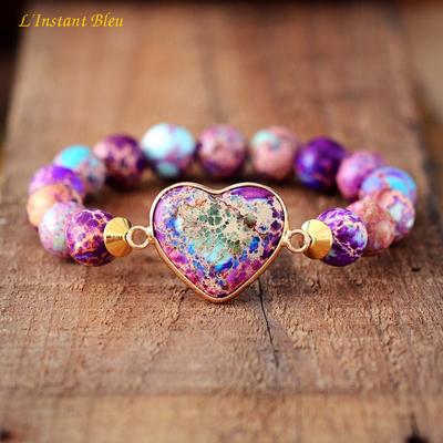 Bracelet bohème ॐ   «Hari Oṃ»  – en Jaspe Impérial dit Océan