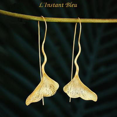 Boucles d'oreilles Bohème Ginkgo «Sōḥa»en Argent Sterling