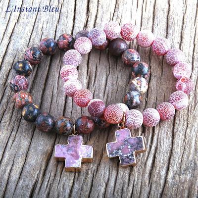 Bracelet bohème «Sādhana pāda» Esprit divin - en Jaspe Rose et Rouge