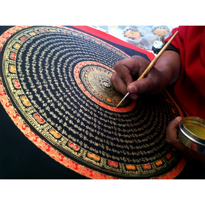 Thangka Tibetaine Sûtra du Coeur 40x40 cm