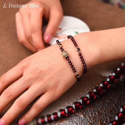 « Sḥabdā » Double Bracelet bohème en Grenats almandin