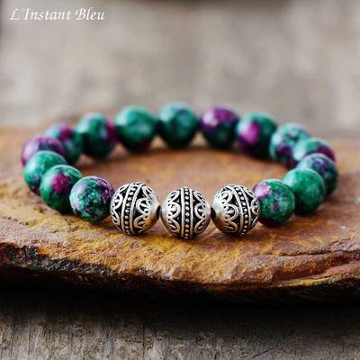 Bracelet Tibétain «Vāyu» Blue Spirit  - en Jaspe Océan