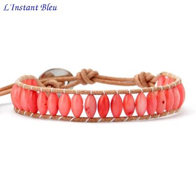Bracelet « Suṣuptī » Cuir et Corail - Esprit d'été