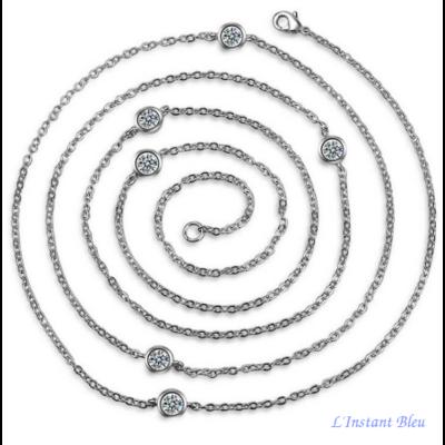 Longue Chaîne «Devakī» en Argent et Zircons 116 cm
