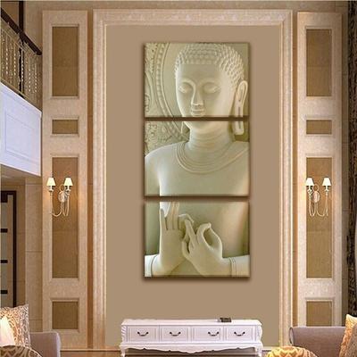 Tableau triptyque «Bouddha mudra»
