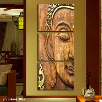 Tableau triptyque «Bouddha» Bois et dorures