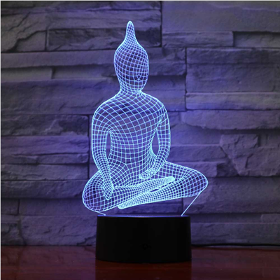 Lampe Led Hologramme Bouddha Assis