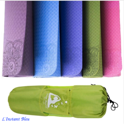 Tapis de Yoga « Lakshmi» imprimé Lotus avec Sac de transport  183 x 61 cm – 6mm d'épaisseur