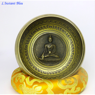 Bol Tibétain «Bouddha de la Médecine» avec bâton de cuir et coussin