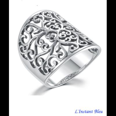 Bague-anneau ajourée «Gāyatrī» en Argent