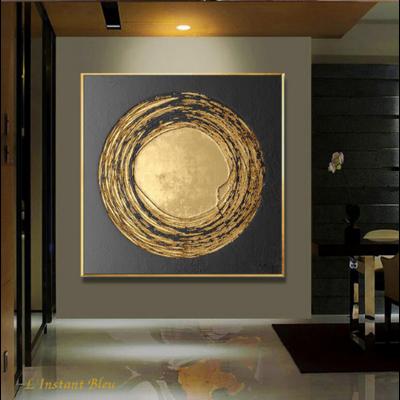 Toile pour décoration murale noir et or «Shakti»
