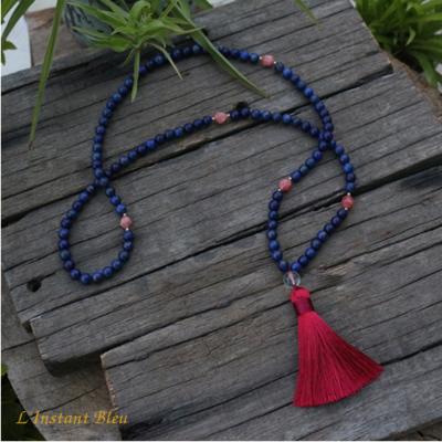 Mālā 108 perles «Trimūrti» Lapis Lazuli  et Rhodrochrosite  8 mm