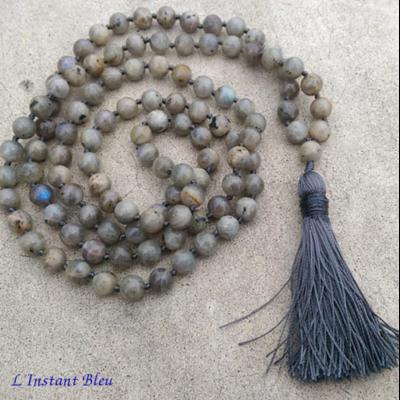 Mālā 108 perles «Katmandou» en Labradorite 8mm